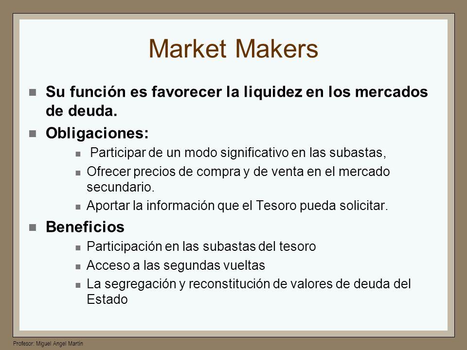 Market Makers Su función es favorecer la liquidez en los mercados de deuda. Obligaciones: Participar de un modo significativo en las subastas,