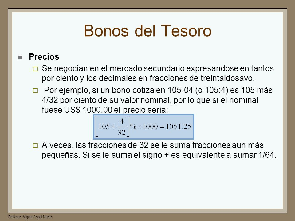 Bonos del Tesoro Precios