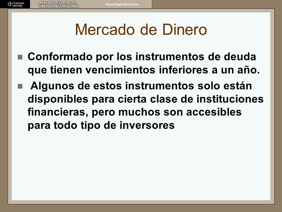 Mercado de DineroConformado por los instrumentos de deuda que tienen vencimientos inferiores a un año.