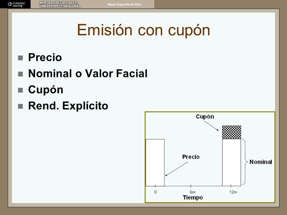 Emisión con cupón Precio Nominal o Valor Facial Cupón Rend. Explícito