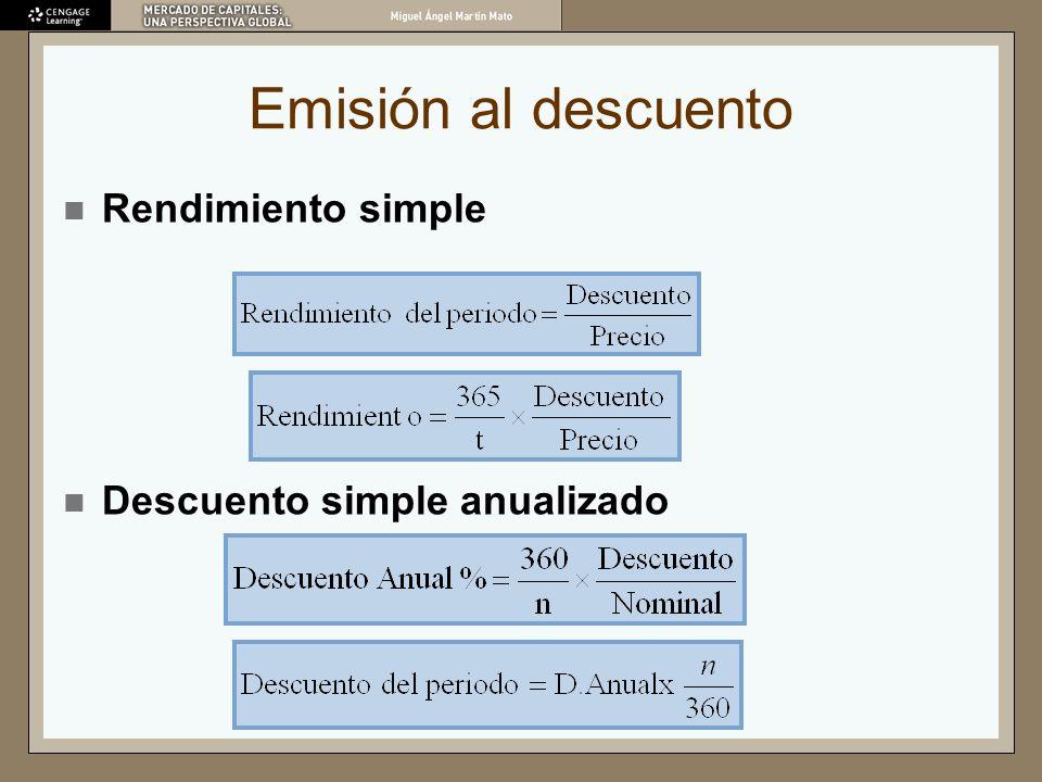 Emisión al descuento Rendimiento simple Descuento simple anualizado