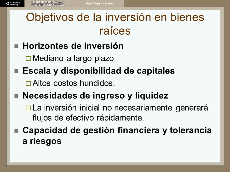 Objetivos de la inversión en bienes raíces