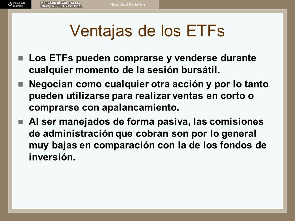 Ventajas de los ETFs Los ETFs pueden comprarse y venderse durante cualquier momento de la sesión bursátil.
