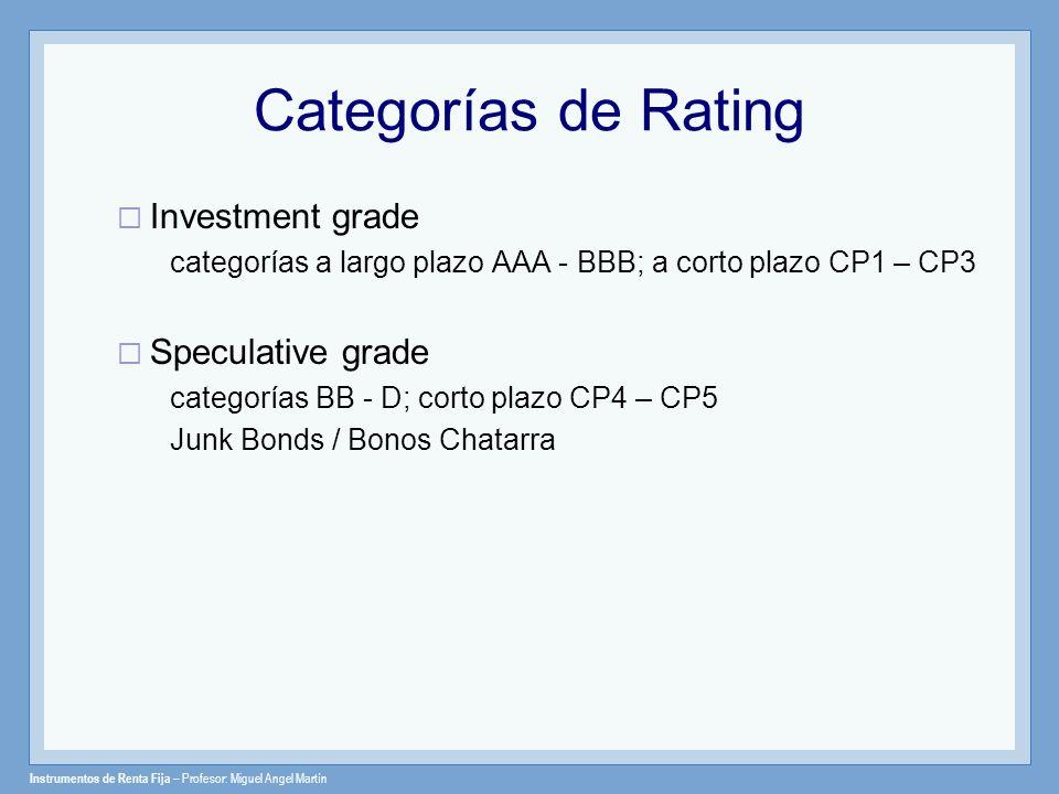 Categorías de Rating Investment grade Speculative grade