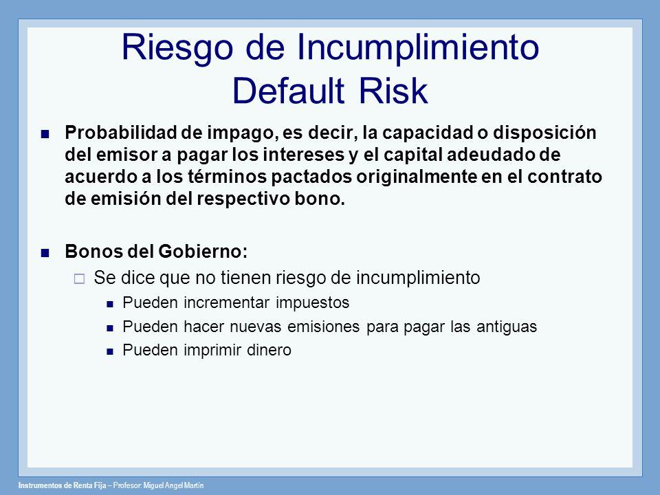 Riesgo de Incumplimiento Default Risk