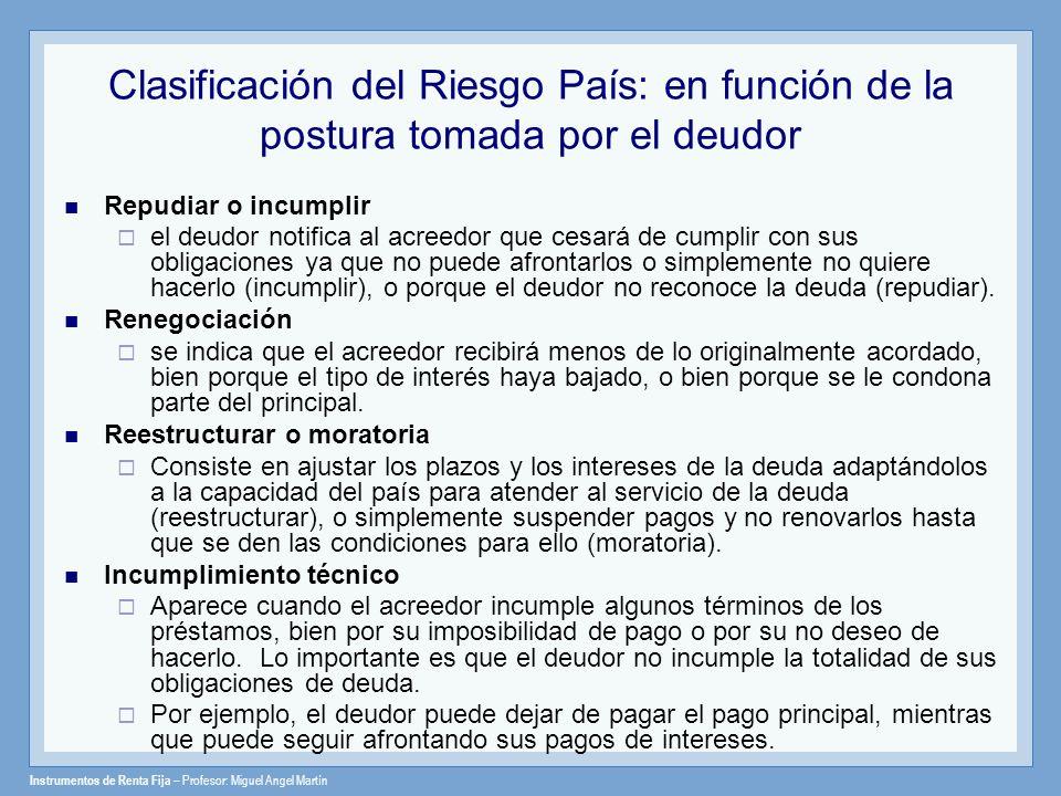 Clasificación del Riesgo País: en función de la postura tomada por el deudor