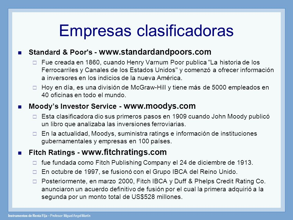 Empresas clasificadoras