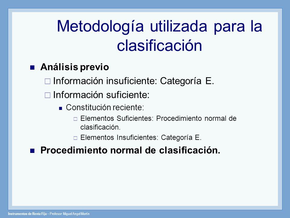 Metodología utilizada para la clasificación