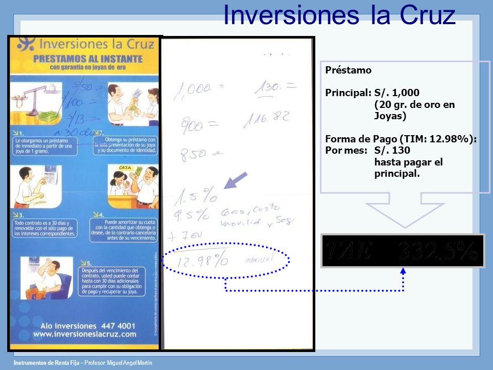 Inversiones la Cruz Préstamo Principal: S/. 1,000