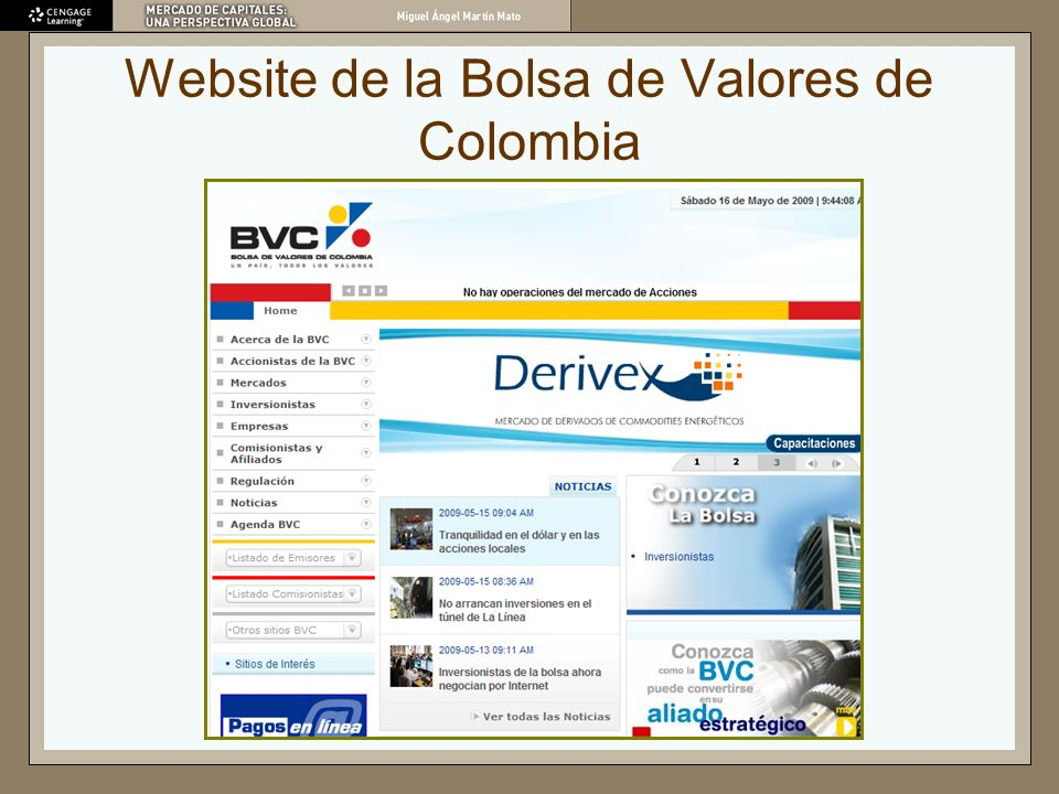 Website de la Bolsa de Valores de Colombia
