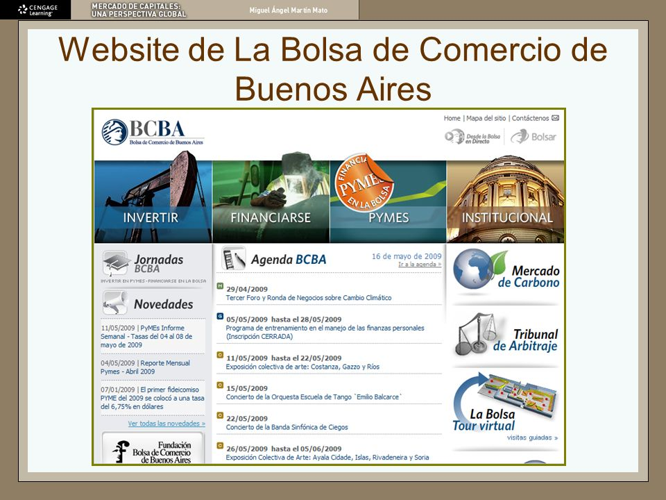 Website de La Bolsa de Comercio de Buenos Aires