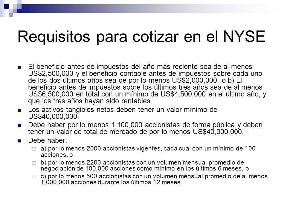 Requisitos para cotizar en el NYSE