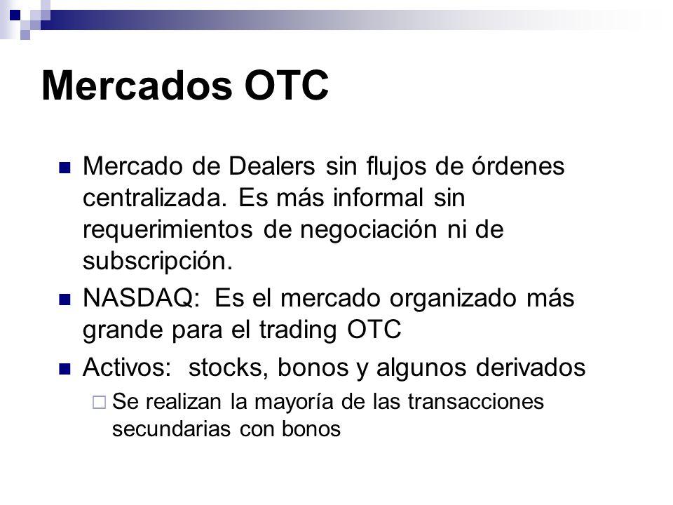 Mercados OTC Mercado de Dealers sin flujos de órdenes centralizada. Es más informal sin requerimientos de negociación ni de subscripción.