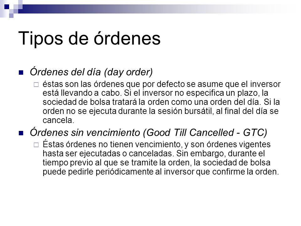 Tipos de órdenes Órdenes del día (day order)