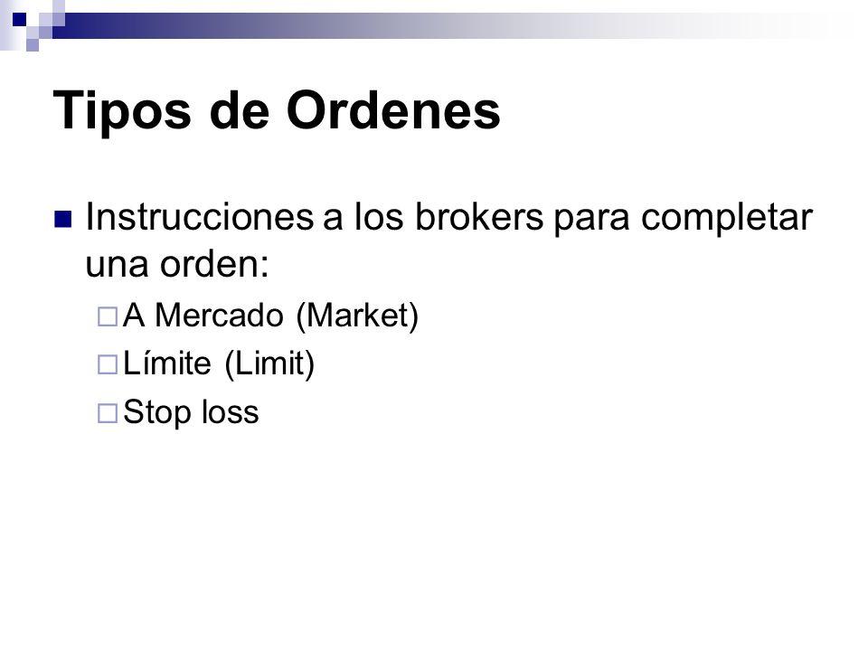 Tipos de Ordenes Instrucciones a los brokers para completar una orden: