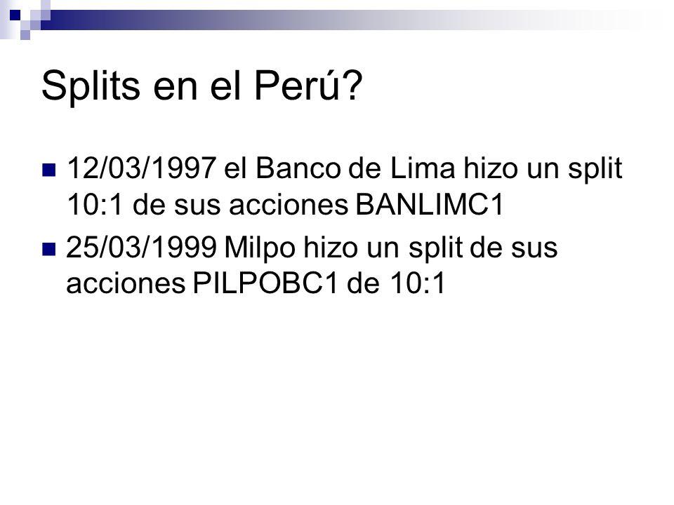 Splits en el Perú 12/03/1997 el Banco de Lima hizo un split 10:1 de sus acciones BANLIMC1.