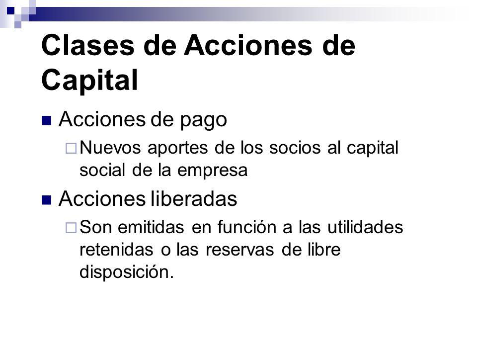 Clases de Acciones de Capital