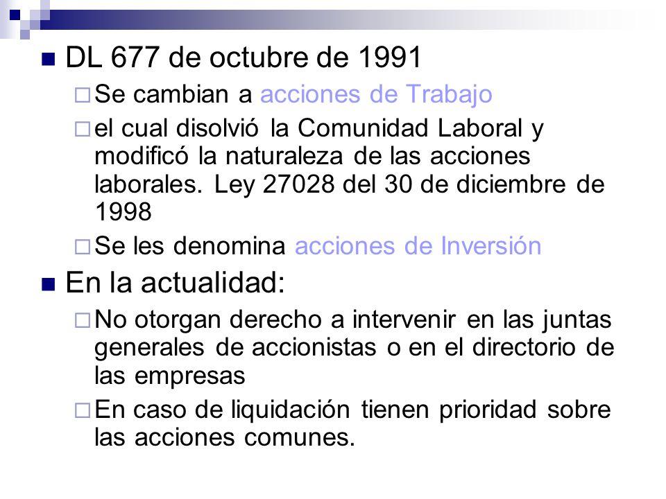 DL 677 de octubre de 1991 En la actualidad: