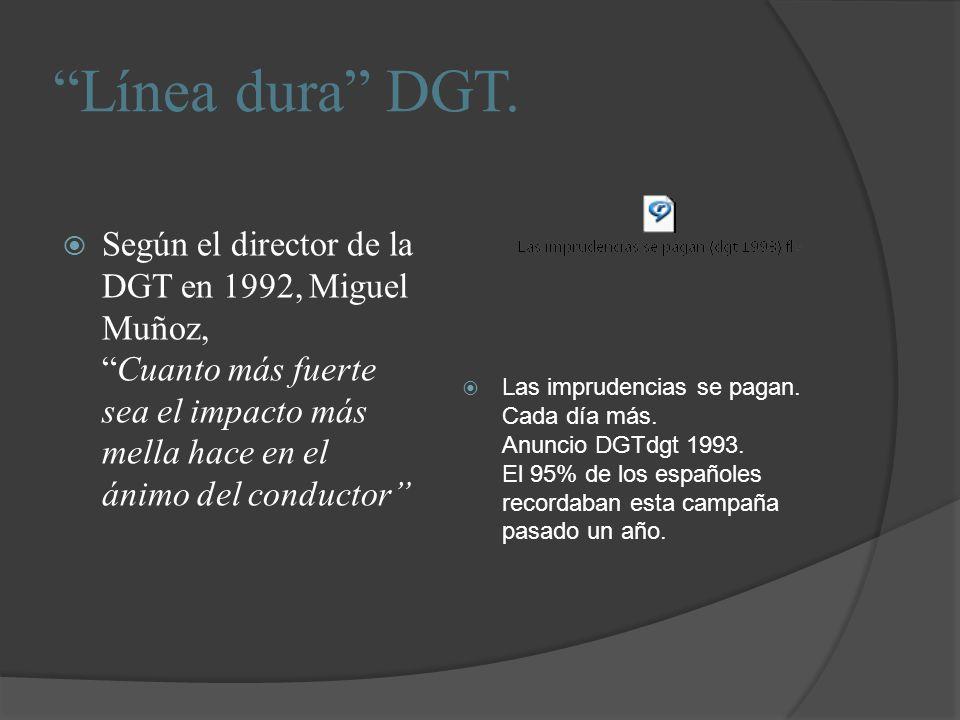 Línea dura DGT. Según el director de la DGT en 1992, Miguel Muñoz, Cuanto más fuerte sea el impacto más mella hace en el ánimo del conductor
