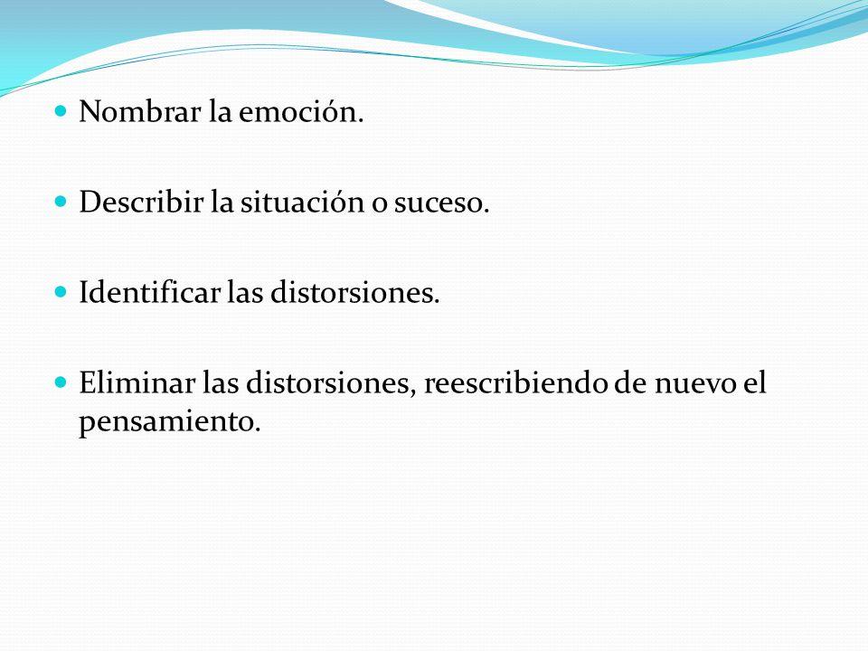 Nombrar la emoción. Describir la situación o suceso. Identificar las distorsiones.
