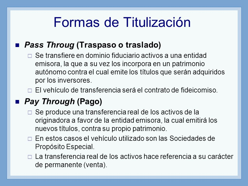 Formas de Titulización