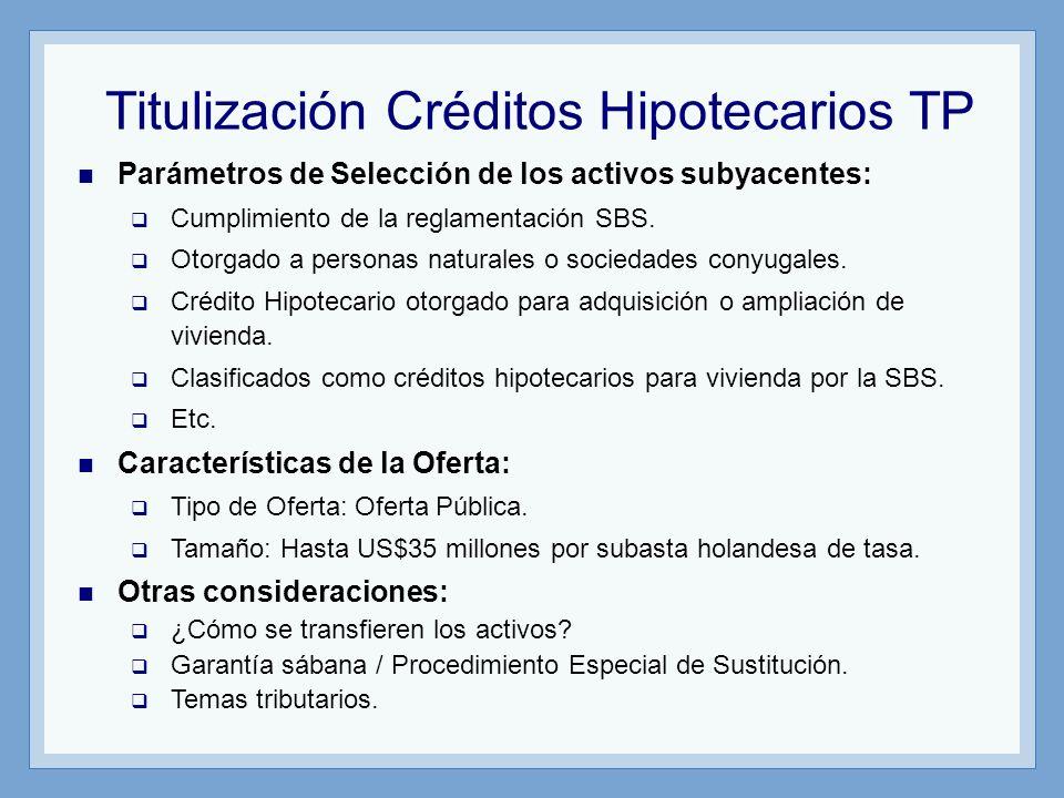 Titulización Créditos Hipotecarios TP