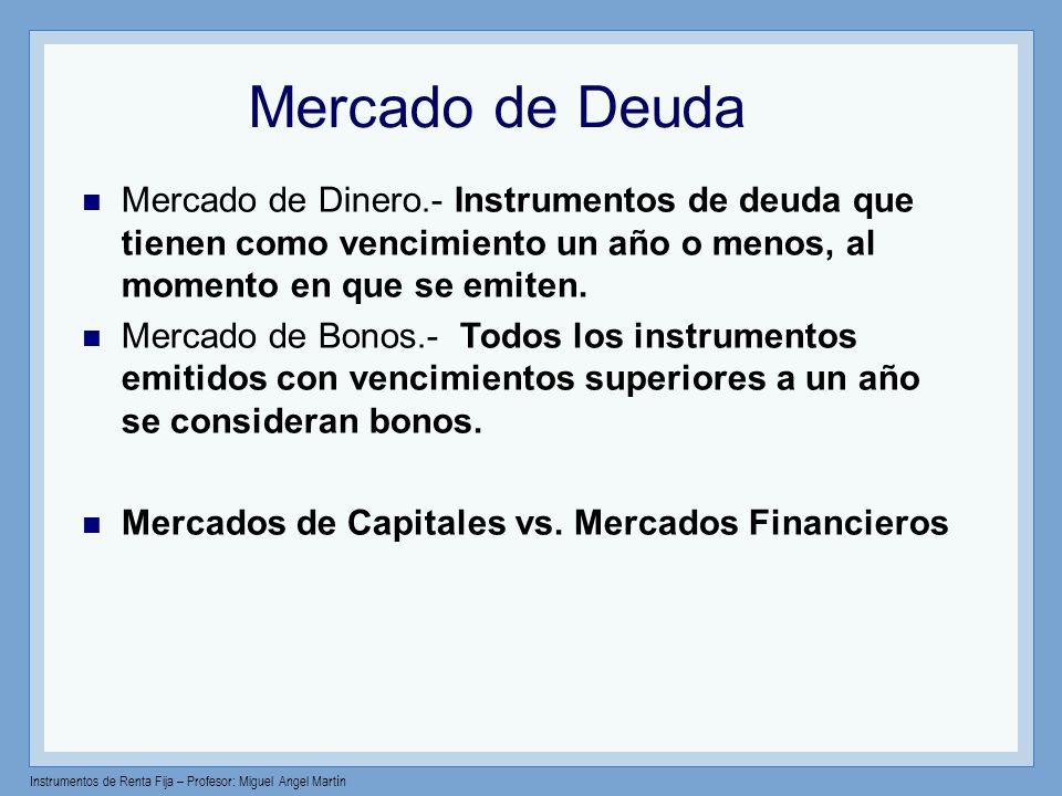 Mercado de Deuda Mercado de Dinero.- Instrumentos de deuda que tienen como vencimiento un año o menos, al momento en que se emiten.