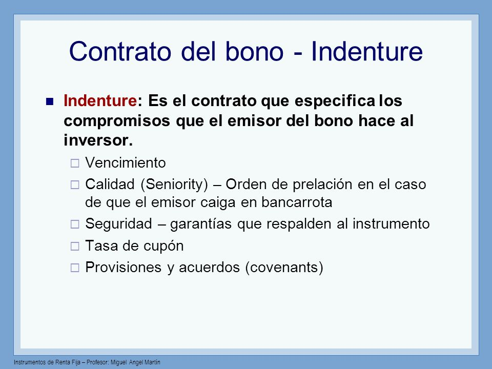 Contrato del bono - Indenture