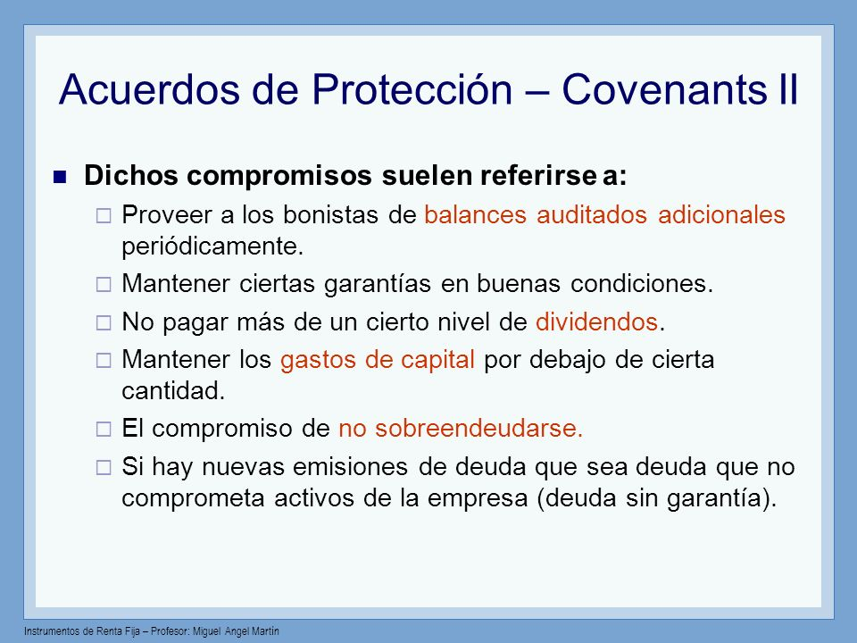 Acuerdos de Protección – Covenants II