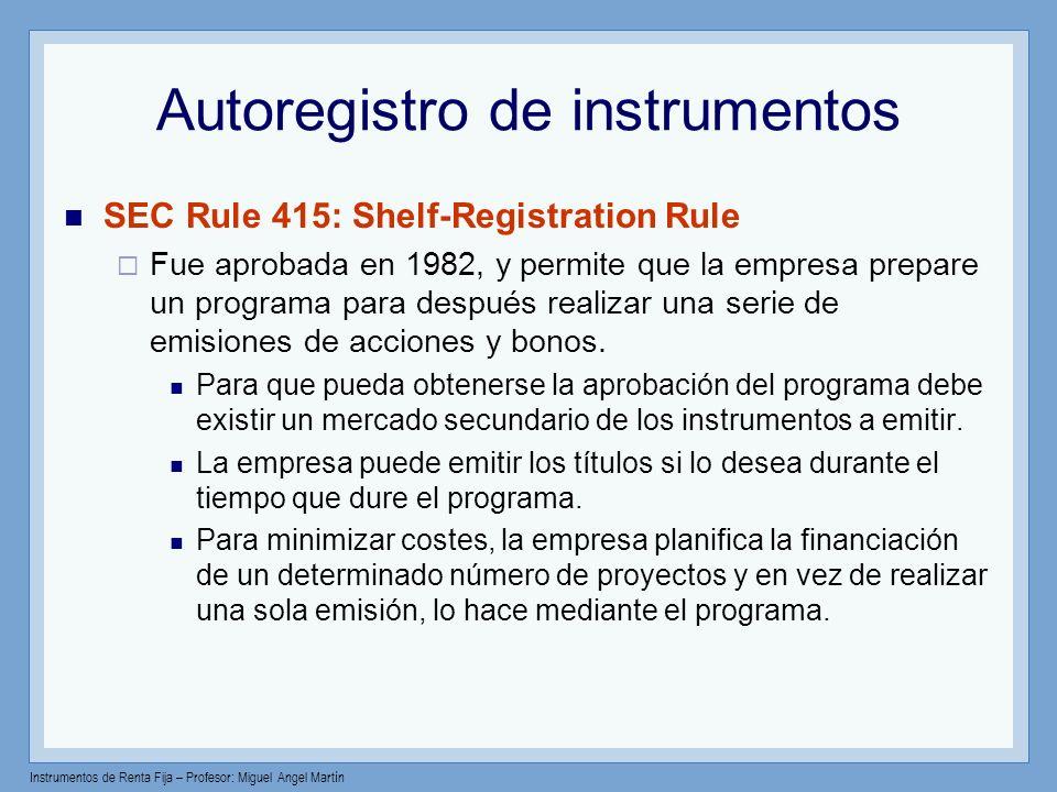 Autoregistro de instrumentos