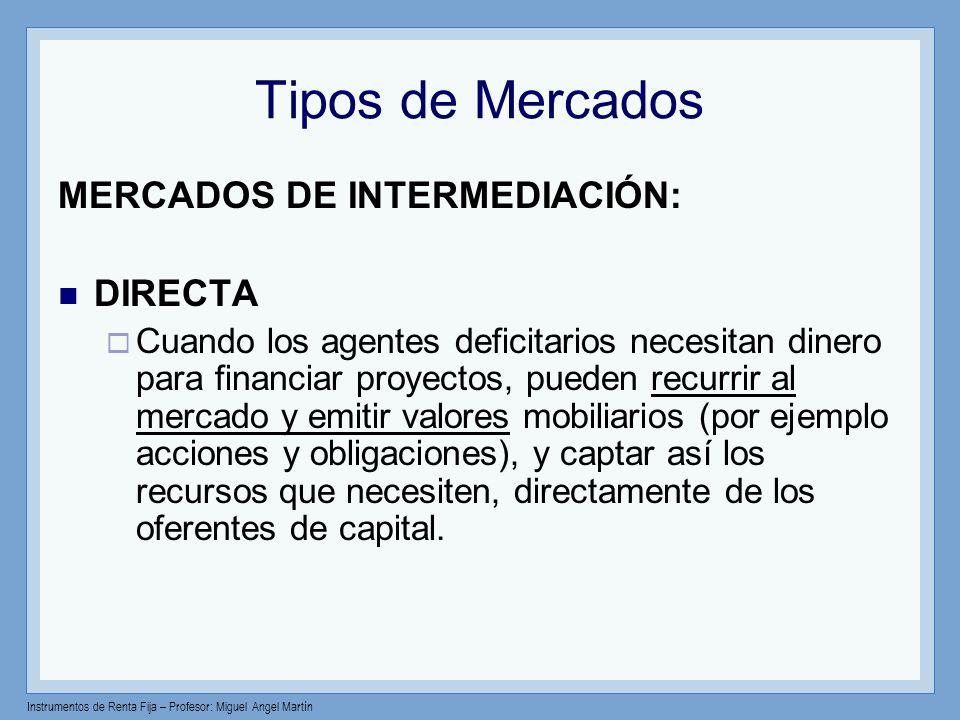 Tipos de Mercados MERCADOS DE INTERMEDIACIÓN: DIRECTA