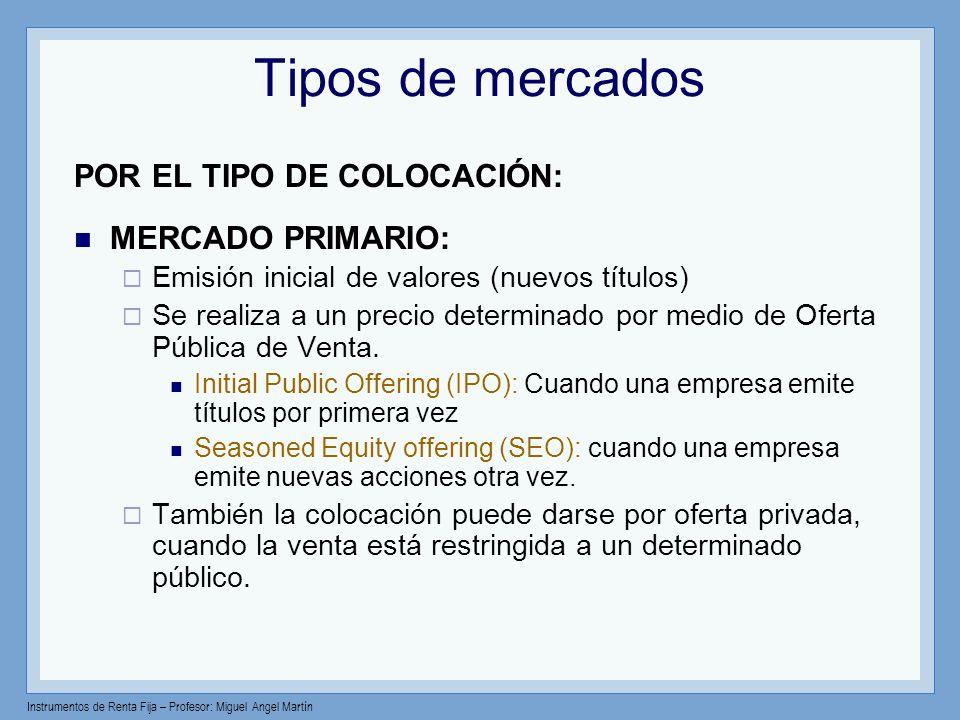 Tipos de mercados POR EL TIPO DE COLOCACIÓN: MERCADO PRIMARIO: