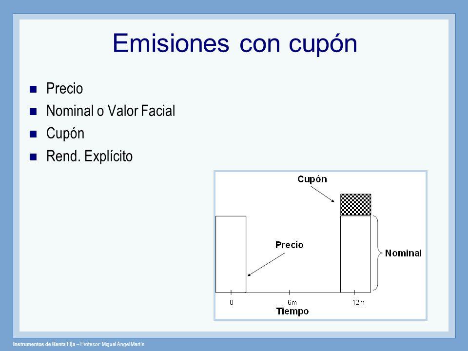 Emisiones con cupón Precio Nominal o Valor Facial Cupón