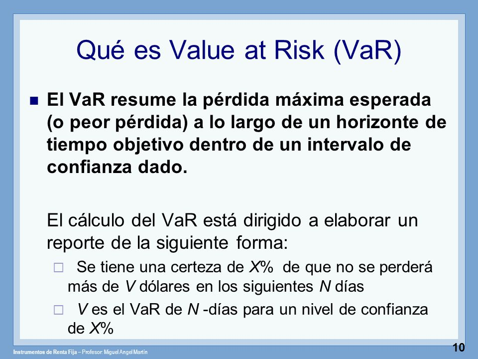 Qué es Value at Risk (VaR)