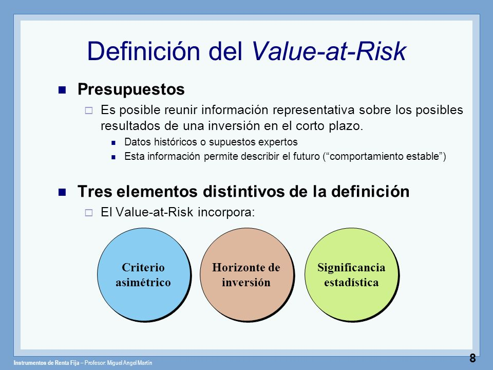 Definición del Value-at-Risk