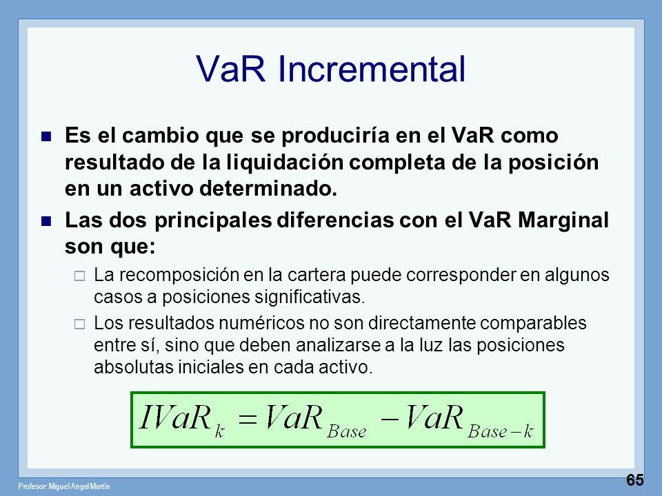 VaR Incremental Es el cambio que se produciría en el VaR como resultado de la liquidación completa de la posición en un activo determinado.