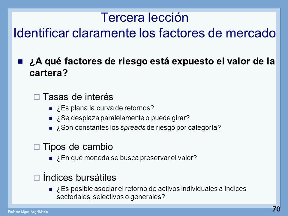 Tercera lección Identificar claramente los factores de mercado