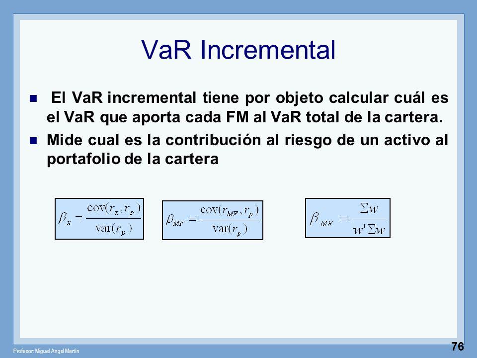 VaR Incremental El VaR incremental tiene por objeto calcular cuál es el VaR que aporta cada FM al VaR total de la cartera.