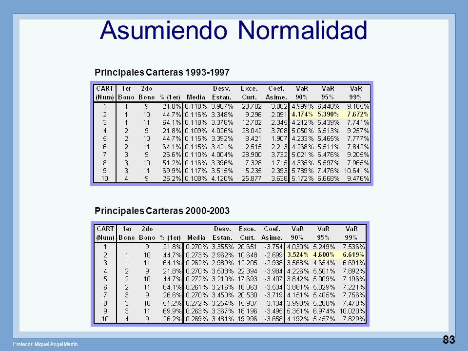 Asumiendo Normalidad Principales Carteras 1993-1997