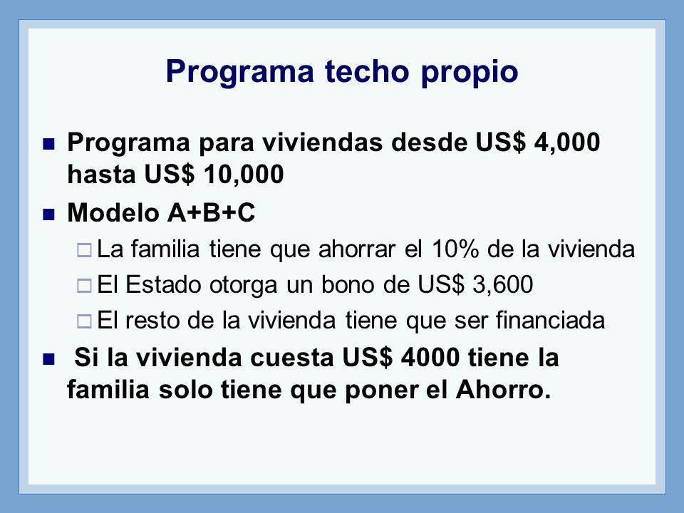 Programa techo propio Programa para viviendas desde US$ 4,000 hasta US$ 10,000. Modelo A+B+C. La familia tiene que ahorrar el 10% de la vivienda.