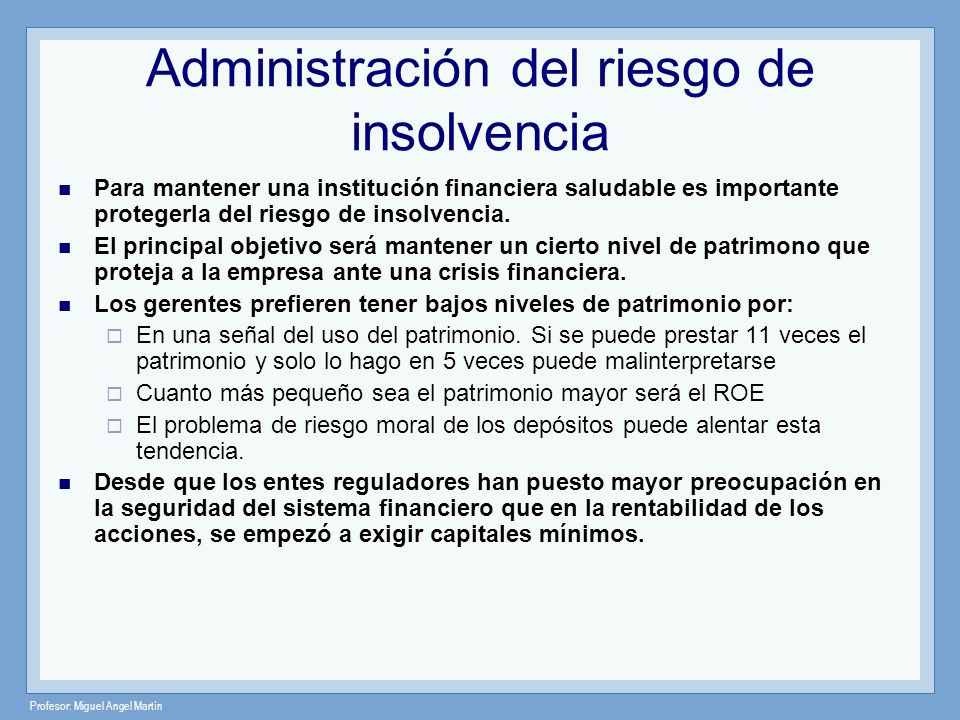 Administración del riesgo de insolvencia