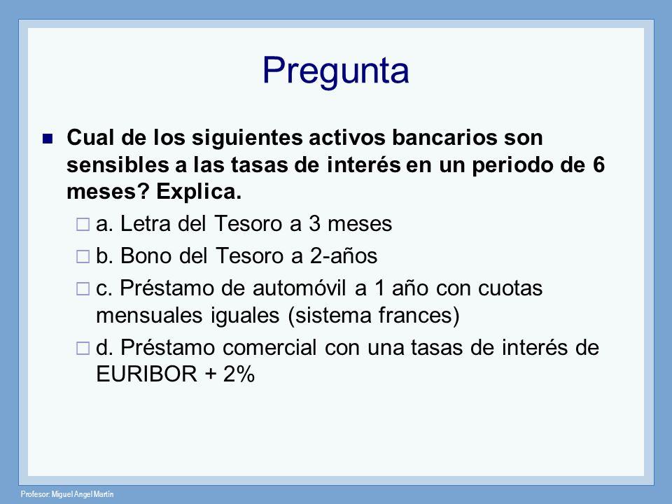 Pregunta Cual de los siguientes activos bancarios son sensibles a las tasas de interés en un periodo de 6 meses Explica.