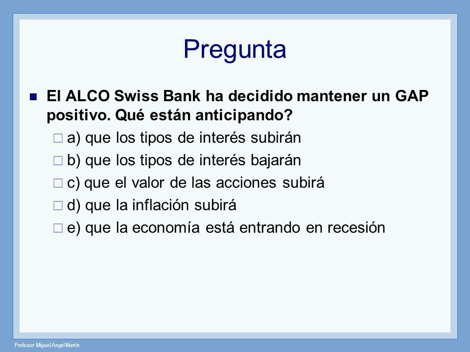 Pregunta El ALCO Swiss Bank ha decidido mantener un GAP positivo. Qué están anticipando a) que los tipos de interés subirán.