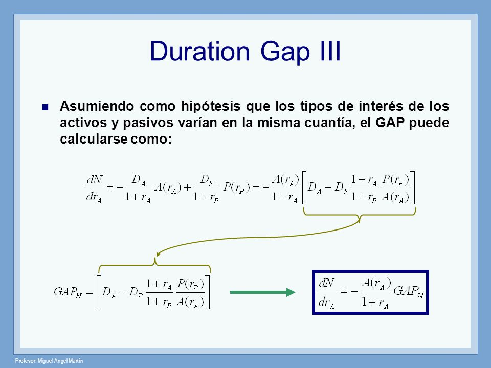 Duration Gap III Asumiendo como hipótesis que los tipos de interés de los activos y pasivos varían en la misma cuantía, el GAP puede calcularse como:
