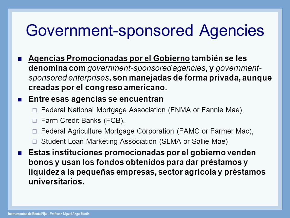 Government-sponsored Agencies