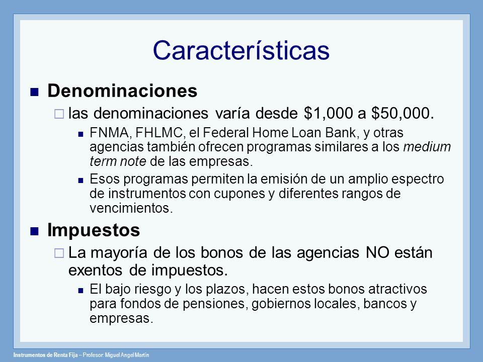 Características Denominaciones Impuestos
