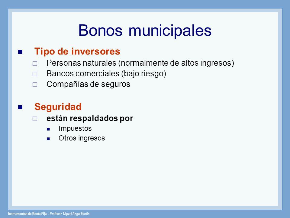 Bonos municipales Tipo de inversores Seguridad