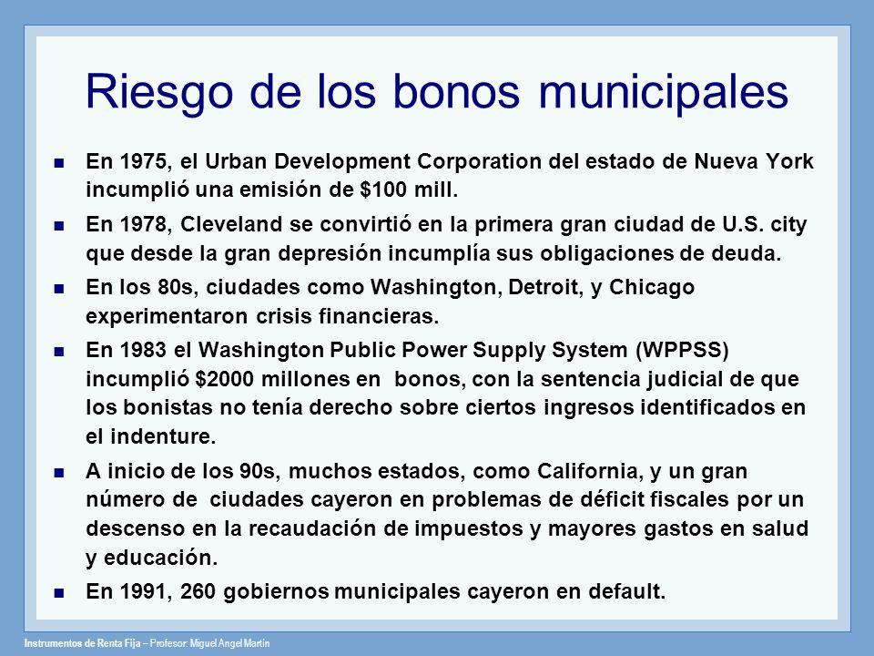 Riesgo de los bonos municipales