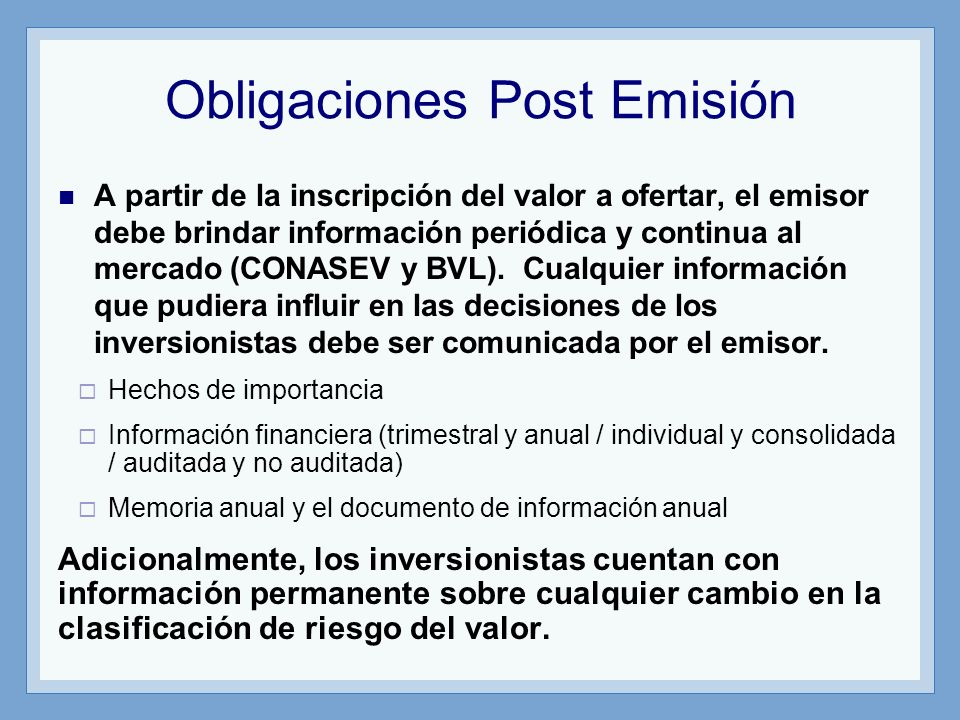 Obligaciones Post Emisión
