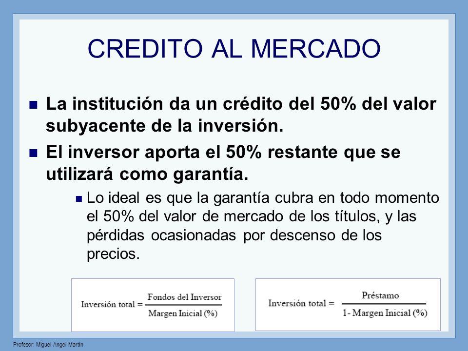 CREDITO AL MERCADO La institución da un crédito del 50% del valor subyacente de la inversión.